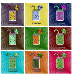 set of flat shading style icons smoothies broccoli vector image