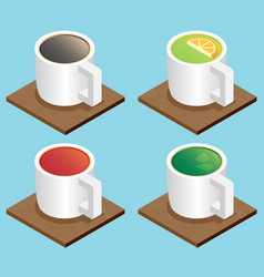 set of the isometric mugs vector image