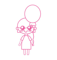 Silhouette beauty girl with heart balloons and vector