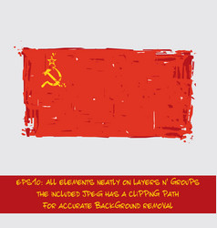 Soviet union flag flat - artistic brush strokes vector