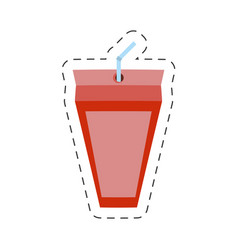 strawberry juice box with straw cut line vector image