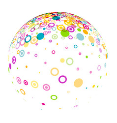 white 3d ball with circles pattern vector image