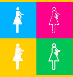Women and baby sign four styles of icon on four vector