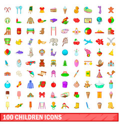 100 children icons set cartoon style vector