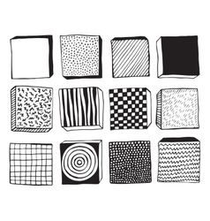 Hand drawn blocks with different textures vector