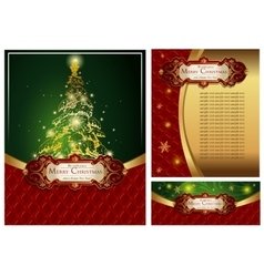 Set of a bright christmas greeting cards vector
