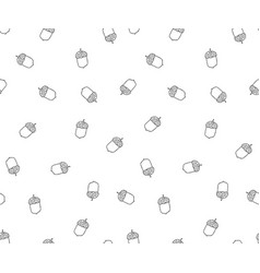 Acorn seamless pattern in doodle stylehand drawn vector