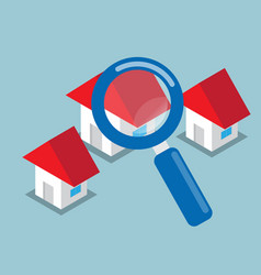 Home searching with magnifying glass vector