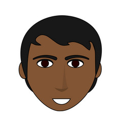 Color image cartoon front face man brunette with vector