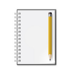 Notebook with pencil on white background for vector