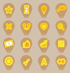 Idea symbol icons sticker on light bulb shape vector