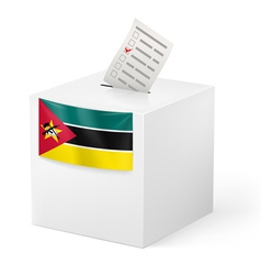 Ballot box with voting paper mozambique vector