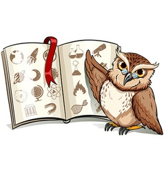 Owl beside the book vector