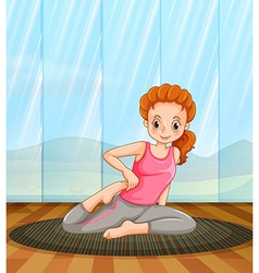 Woman doing yoga in the room vector