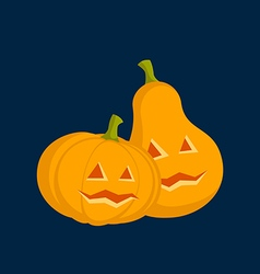 Couple pumpkins for halloween dark background vector