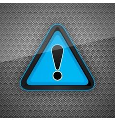 Hazard warning attention symbol on a dark gray met vector