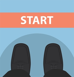 Businessman feet in front of start line vector image