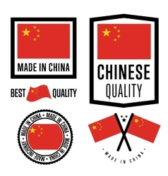 Made in china label set national flag vector