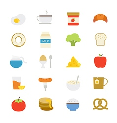 Breakfast flat icons color vector
