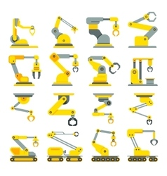 Robotic arm hand industrial robot flat vector