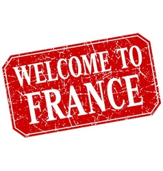 welcome to France red square grunge stamp vector image