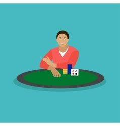 Man playing poker on a table people in casino vector