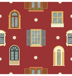 Architectural Seamless Pattern with Vintage Window vector image