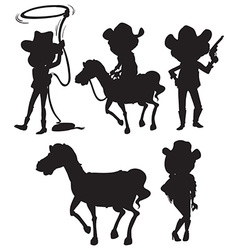 Black sketches of people from the wild west vector