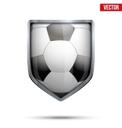 Bright shield in the football ball inside vector