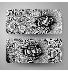 Cartoon cute doodles curls swirls banners vector image