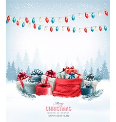 Christmas presents with a garland and a sack full vector image