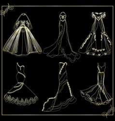 dresses outline collection of wedding vector image
