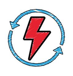 Energy hazard symbol with arrows around vector