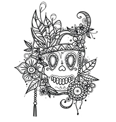 Hand drawn skull in flowers and vector