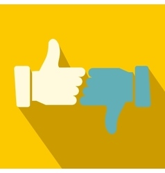 Hands showing thumbs up and down flat icon vector image vector image