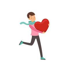 Happy teen boy walking with red heart happy vector