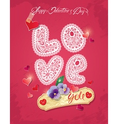 Happy Valentines Day Vintage card vector image vector image