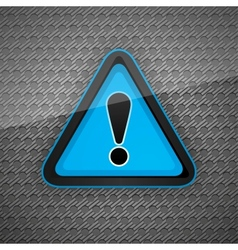 hazard warning attention symbol on a dark gray met vector image vector image