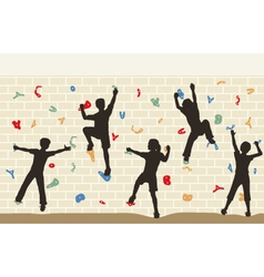 Kids climbing wall vector image