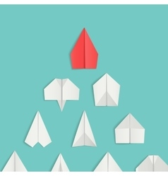 Leadership concept with red paper airplane leading vector image