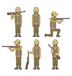 male hunter gun weapon hands characters icons vector image vector image
