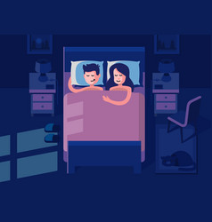 Man and woman sleeping in the bed vector