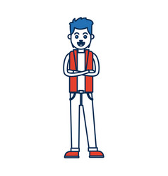 Man character standing with folded arms vector