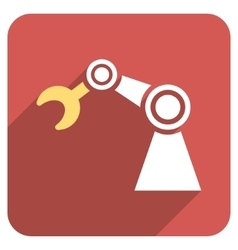 Manipulator flat rounded square icon with long vector