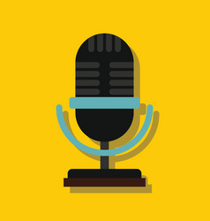 microphone in flat style with shadow vector image vector image