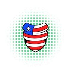 Neckerchief in USA flag colors icon comics style vector image