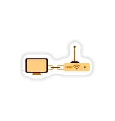 Paper sticker computer connection wi fi modem vector