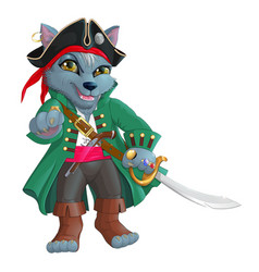 Pirate wolf vector