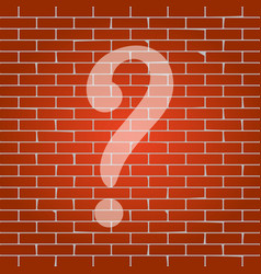 Question mark sign whitish icon on brick vector