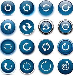 Round dark blue arrow icons vector